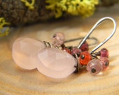soft pink chalcedony earrings with shaded berry colored gems - oxidized silver