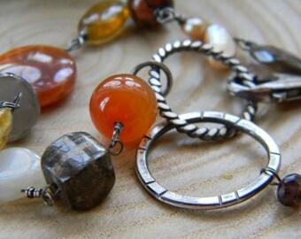 Warm Gems Boho Bracelet with handmade rustic silver links - oxidized silver