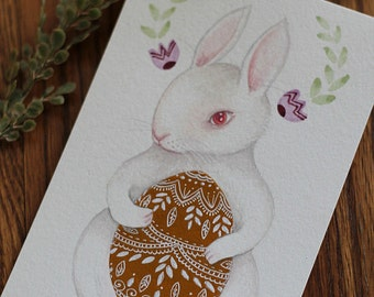 "Original Easter Bunny Egg painting, ""Easter Rabbit, Pink"""