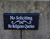No Soliciting No Religious Queries Wood Sign Vinyl Outdoor Garden Yard Plant Stake Home Decor Garden Landscape Sign Yard Art Garden Decor