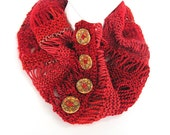 Button Cowl in Deep Red FREE US Shipping