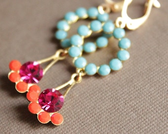 Turquoise/Orange/Fuchsia Crystal Earrings - Brass - Gold Plated Leverback Earwires