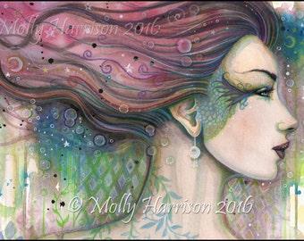 Original Painting - Julia- Abstract Fantasy Watercolor Face of Woman - Molly Harrison Fantasy Art - Mixed Media - Modern, Contemporary