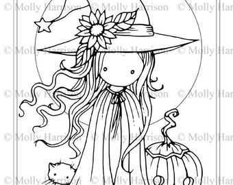 Tiny Witch and Cat - Coloring Page - Printable - Whimsical Fun Witch - Jack-o-lantern - Molly Harrison Fantasy Art - Instant Download