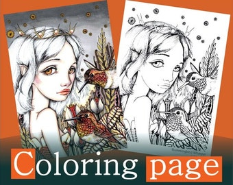 Hummingbird Whisper - COLORING PAGE colouring for adults instant DOWNLOAD printable file fairy bird fashion girl flower design