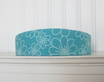 Turquoise and white Headband - Fabric Headband - Floral Headband - Womens Headband - Womens Hair Accessories