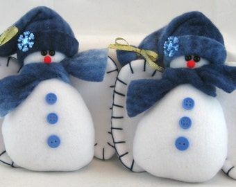 Snow Angel Ornaments, Christmas Decoration, Stuffed Snowman Decorations, Christmas Ornaments, Snow Angel Ornamets, Shades of Blue Set of 2