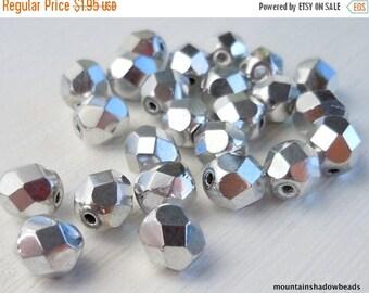 25% OFF Summer Sale Czech Faceted Firepolished Beads 6mm Czech Glass Beads - Silver 25 (G - 35)
