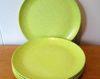 5 vintage yellow green speckled melmac snack plates
