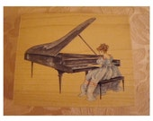 Beautiful GIRL at GRAND PIANO - Rubber Stamp by MiLDRED WyATT - The American Design Co. - Vintage UnUSED - StAMPS HaPPEN