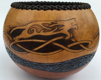 Cat pyrography wood burned carved Gourd bowl