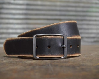 Distressed BLACK Leather Belt by Fosterweld