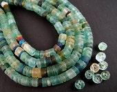30 Tiny Ancient Roman Glass Heishi Beads, 2x3mm, Rustic MATTE, Bactrian Glass, Aqua Blue, Ancient Green, Excavation Bead EX14