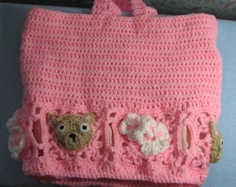Crochet Pattern - Lace and Flowers Chihuahua Tote Crochet Pattern - Chihuahua Tote -Tote - Purse - Animal Tote Pattern - Digital Download