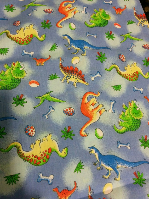 Dinosaur fabric cotton boy kids print fabric by ficklefaerie for Kids cotton fabric