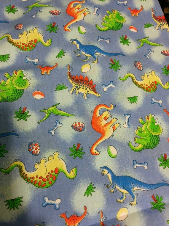 Dinosaur fabric cotton boy kids print fabric by ficklefaerie for Kids dinosaur fabric
