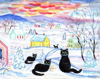 ORIGINAL FOLK ART,  Black Country Cats in the Snow at Sunset, by D M Laughlin