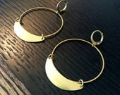 Lightweight Brass Modern circle Shaped Crecent moon Hoop Earrings - Statement Earrings - minimalist Earrings - brass hoops -