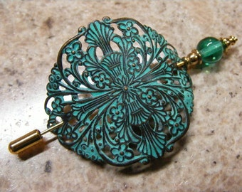 Lace Weight Turquoise Enameled Antique Brass Filigree Shawl Pin... Lot 35163