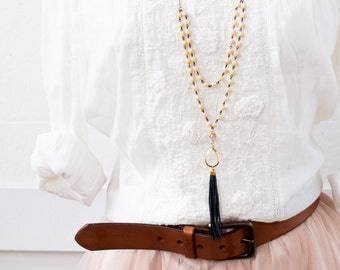 Multi Chain Cream Bead and Leather Tassel Necklace, Leather Tassel Necklace