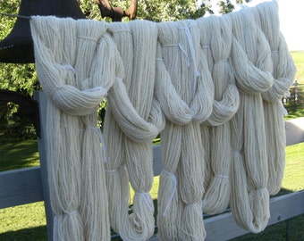 White Alpaca Yarn with Cormo Wool, 250 yards for Knitting, Crochet, Weaving, and Felting, Sport Weight