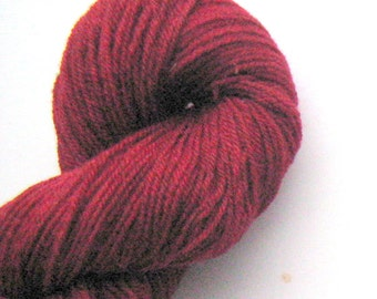 Red Sock Yarn, Corriedale Wool and Alpaca, Hand dyed Yarn to Knit, Crochet, or Weave, 3 ply, 250 yards