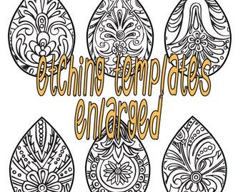 Digital Pattern for Etching Paisley Tear Drop Earrings Download DP Paisley