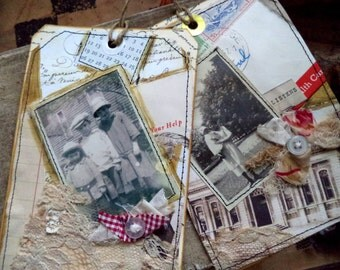 collage postcards,  two