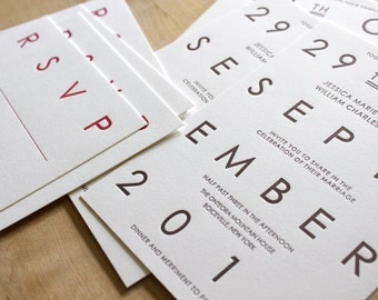 Letterpress Wedding Invitations - Classic, Affordable, Modern, Simple, Traditional, sample