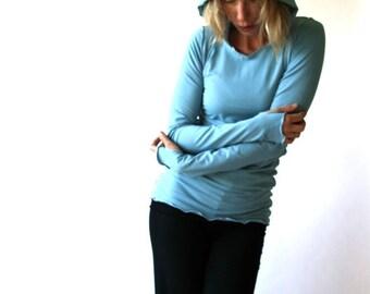 THUMBHOLE HOODY  women, shirt, top, blue shirt, tops, long sleeve shirt, shirt with hood, shirt with thumbhole sleeves