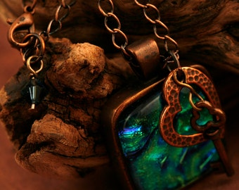 Key to My Heart Antique Copper and Fused Glass Necklace No. 650