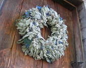 LAMB'S EAR WREATH  with Sea holly   natural  decoration  for door or wall