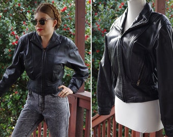 Midight RIDE 1980's 90's Vintage Black Leather Motorcycle Jacket with Cinch Waist // by BYRNES & Baker // size Medium // Zippers