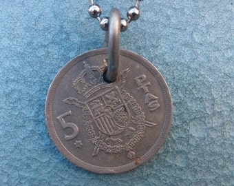 El Rey- Mens Upcycled Spanish Coin Necklace