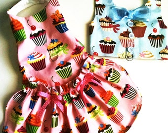 Boy dog and Girl dog Harness Dress and Vest Combo:Pink Sweet Tooth Cupcake Dress or Blue Cupcake Harness Vest puppy clothing dog clothes