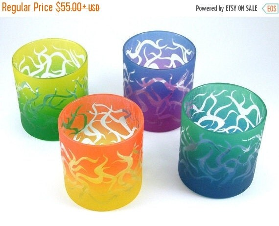 SUMMER SALE Chaos Weave Lowball Tumbler Glasses - Set of 4 - Clear Style - Etched and Painted Glassware - Custom Made to Order