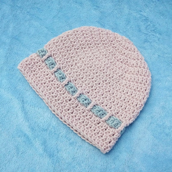 Pink and Grey Crocheted Baby Hat 6-12M