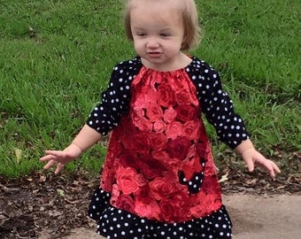 Girls Peasant Dress, Red Roses Dress, SIZE 24M 2T 3T 4T 5 6   Handmade in the USA  #386