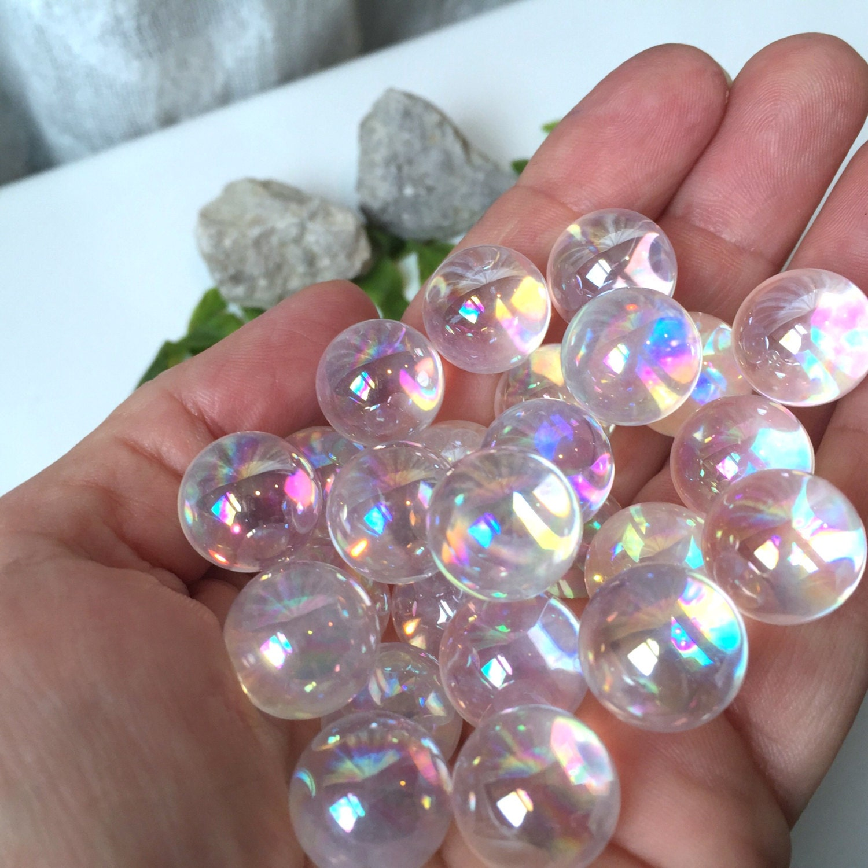 1pc 14mm Angel Aura Quartz Sphere Mystic Quartz Sphere W