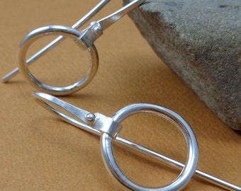 Sterling Silver 16g Gauged Earwire Riveted Loop Simple Round Circle Dangle Earrings