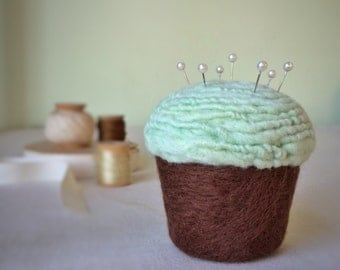 Pincushion - Felted Cupcake, Chocolate Mint
