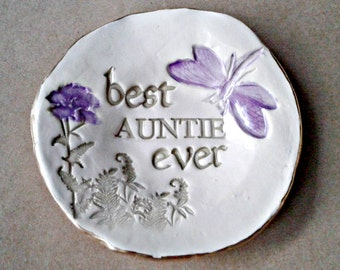 Ceramic Auntie Trinket Bowl  edged in gold  Mothers day