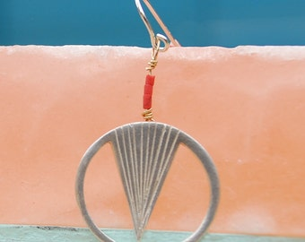 PEAK HOOKS earrings sterling silver or 14kt gold vermeil with beads handcrafted and carved by artisan Chocolate and Steel