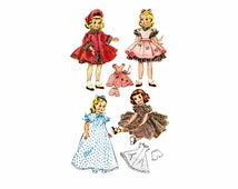 1950s Maggie and Alice Doll Clothes McCalls 1717 Vintage Sewing Pattern ORIGINAL Fits 18 inch Dolls UNCUT