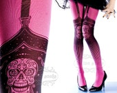 Tattoo Tights,  Day of the Dead garters print magenta thigh highs illusion one size full length closed toe printed tights pantyhose