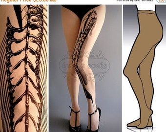 10%Off// L/XL Fish Bone tattoo tights / stockings / full length / pantyhose / nylons Cafe Latte