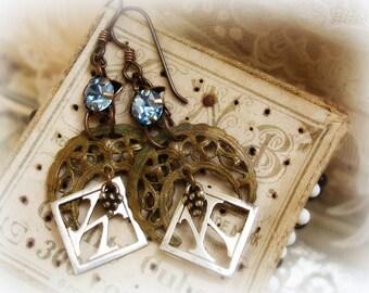 moon oVer miami one of a kind vintage assemblage earrings vintage rhinestones + crescent filigree + antique K monograms