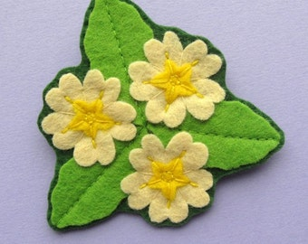 Primrose Trio Brooch, felt flower brooch