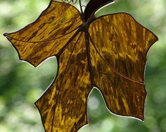 Stained Glass Amber Maple Leaf