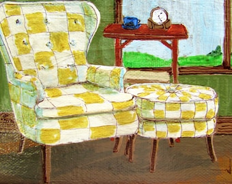 Original Painting chair on porch 4x6 canvas